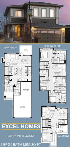 Eaton 2 Story Floor Plan With Basement| 3 Bedroom 2.5 Bathroom 1,556 sq. ft. | From Excel Homes find more show homes throughout Alberta #excelhomes #floorplans #homeexterior #house #homebuilder #basement