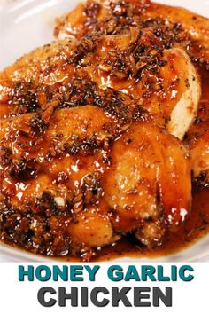 This easy Garlic Honey Glazed Chicken is ready in 30 minutes and has only a few . This easy Garlic Honey Glazed Chicken is ready in 30 minutes and has only a few ingredients. It's one of my all time favorite quick easy chicken recipes. Honey Recipes, Quick Recipes, Quick Easy Meals, Recipes With Few Ingredients, Cooking Recipes, Easy Honey Garlic Chicken, Glazed Chicken, Brown Sugar Chicken, Glaze For Chicken