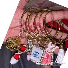 designer charm bracelets on Mercari Bangle Bracelets With Charms, Handmade Bracelets, Bangles, Cute Jewelry, Jewelry Accessories, Fashion Accessories, Chanel, Pandora Jewelry, New People