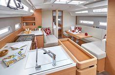 Sun Odyssey 410 │ Sun Odyssey of │ Boat Sailboat Jeanneau Storage 12368 Yacht Interior, Interior Design, Guest Cabin, Deck Plans, Magic Carpet, Sailboat, Teak, Boats, Architecture Design