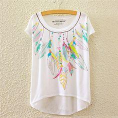 T-Shirt Da donna Floreale Rotonda Manica corta Cotone del 4849656 2016 a €6.85