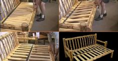 It is so inspiring to see someone creative with wood. I salute you, Sir! Honestly, I really apprecia . Futon Sofa, Couches, Lodge Bedroom, Rustic Log Furniture, Cabin Ideas, Little Houses, Homesteading, Chairs, Camping