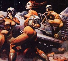 Frank Frazetta, comic book cover art pulp retro futurism back to the future tomorrow tomorrowland space planet age sci-fi airship steampunk dieselpunk alien aliens martian martians BEMs BEM's
