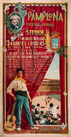 Cartel de los Sanfermines de 1908 - Ferias y fiestas de San Fermín, Pamplona.