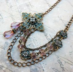 The blue and pink in this piece with the rustic chains are very sedate.  Good piece for anyone who doesn't want something so elaborate.