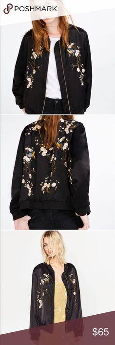 Zara embroidered silk bomber jacket In excellent condition. 100% viscose. No trades  Zara Jackets & Coats