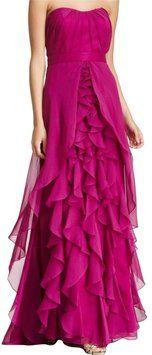 Dalia MacPhee Strapless Chiffon Dress