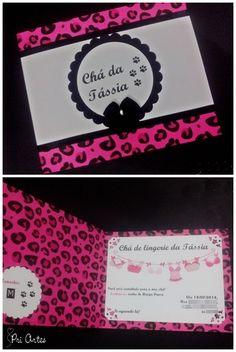 Convite chá de lingerie - onça rosa