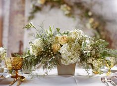 Light yellows and creams make for light and airy wedding decor