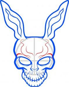 how to draw frank the rabbit, donnie darko step 6