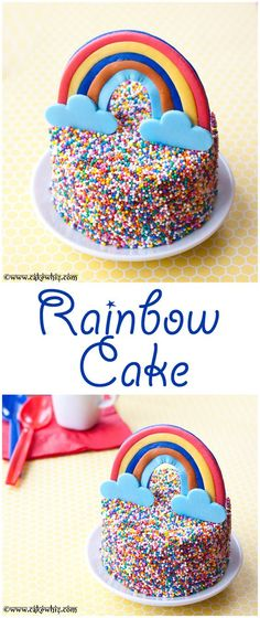 Colorful RAINBOW CAKE covered in sprinkles with tutorial. So much fun for kiddie parties. From cakewhiz.com