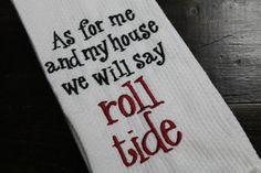One University of Alabama monogrammed/appliqued kitchen towel/dish cloth-tailgating-shower-hostess gift-Roll Tide--Crimson and White