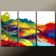 3PC Abstract Art Huge Custom Made 72x48 on Stretched by wostudios