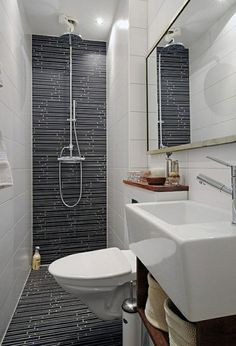 Bathroom, Stylish Doorless Shower With Black Tile Idea Feat Wall Mounted Sink And Long Horizontal Mirror On Terrific Small Bathroom Makeover ~ Beautiful Small Bathroom Makeover