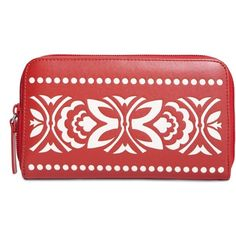Vera Bradley Laser-Cut Accordion Wallet in Cheery Blossoms (105 BRL) ❤ liked on Polyvore featuring bags, wallets, cheery blossoms, patterns, ziggy zinnia, vegan leather bags, vegan wallet, red bag, red wallet and coin pocket wallet