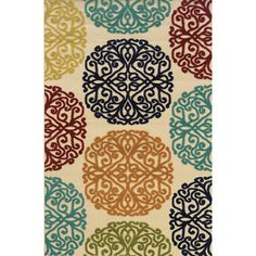 @Overstock.com - Indoor/ Outdoor Ivory/ Multi Area Rug (5'3 x 7'6) - The high-low effect created by a frieze-cut pile and flat-weave construction lends striking style to this indoor/outdoor area rug. This rug features easy-care polypropylene fibers and bright colors that will make the perfect addition to your space.  http://www.overstock.com/Home-Garden/Indoor-Outdoor-Ivory-Multi-Area-Rug-53-x-76/8340919/product.html?CID=214117 $114.74