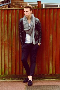 H Snood, River Island Leather Jacket, Zara Chinos, Loafers