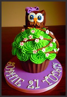 Giant Owl cupcake... would be nice with two owls. A big owl and little one. (big brother... little sister)