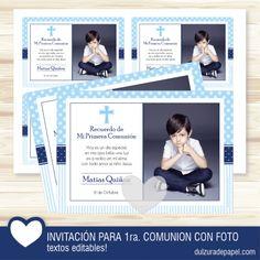 Invitacion para Primera Comunión niño personalizada con foto. #imprimible #kit #invitacion #primeracomunion #Comunion