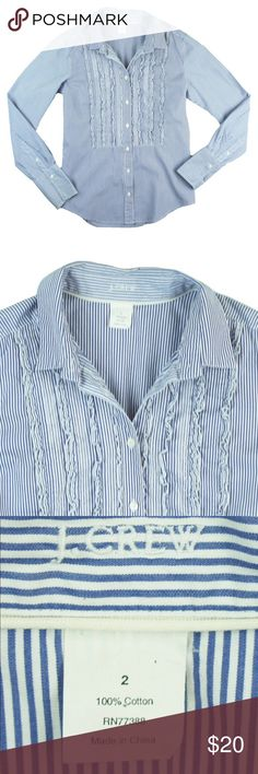 """JCREW Blue Pinstripe Ruffle Front Shirt Excellent condition! This blue and white pinstripe shirt from JCREW is in excellent condition. It features ruffle front detail and button closures. Made of 100% cotton. Measures: Bust: 35"""", total length: 24"""", sleeves: 24"""" J. Crew Tops Button Down Shirts"""