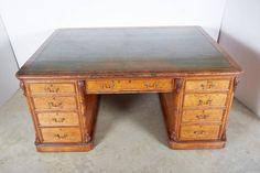 Partners Desk, Old Desks, Furniture Storage, Drawer Fronts, Green Leather, Cupboard, Office Desk, Corner Desk, Drawers