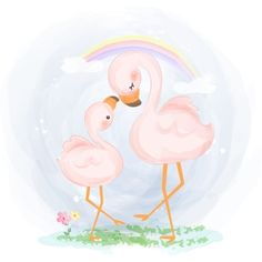 Cute flamingo family in floral crown illustration Flamingo Illustration, Cute Animal Illustration, Graphic Illustration, Animal Illustrations, Fantasy Illustration, Digital Illustration, Illustrations Posters, Crown Illustration, Baby Animal Drawings