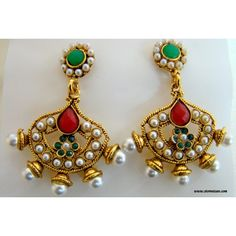 Polki Earrings Green and Maroon with Faux Metal Base - Rajasthani Jewellery - Online Shopping for Earrings by Store Utsav