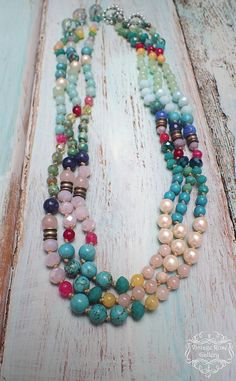 BOHO CHIC Beaded Colourful Necklace and Bracelet, Pastel Bracelet , Bohemian Necklace, Boho Chic Pastel colour Colourful , Happy Necklace for everyday use with beautiful gemstones and glass . Too many colours that combined together create a unique result so feminine and so ....