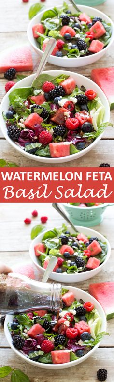 Watermelon Feta Salad loaded with tons of fresh berries and basil. Drizzled with a Simple Balsamic Vinaigrette. A light and refreshing summer salad! | chefsavvy.com #recipe #salad #feta #basil #watermelon