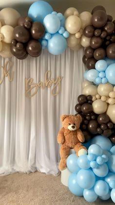 Birthday Balloon Decorations, Baby Shower Decorations For Boys, Boy Baby Shower Themes, Baby Shower Centerpieces, Baby Shower For Boys, Party Decoration Ideas, Teddy Bear Centerpieces, Baby Shower Parties, Idee Baby Shower