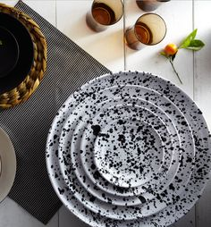 Black on White Splatterware, $45–225 from marchsf.com The painterly motif on these plates, bowls, and serving platters is a little bit Jackson Pollock and a bit like the classic look of enamelware.