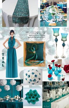 TEAL is the color - ideas and inspirations when using the color TEAL for your event or wedding from DLG Creative Management Wedding & Event Planning