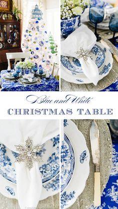 My Blue & White Christmas Table, Ideas for Christmas entertaining, Christmas decorating ideas