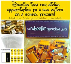 A Darling Teacher Appreciation and/or Bus Driver Gift Idea! Give your child's teacher or bus driver a much-deserved chocolate treat as a big thank you for their efforts! You just need chocolates, bags, and the free printable! Click on pic to go to site for free printable link.