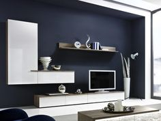 Arte-M Linea Modern TV Unit and Wall Storage System in White or Grey with Oak detail