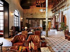 Move over Alamo: There's a new reason to visit San Antonio. The Hotel Emma, housed in a 1894 clock tower that anchors the city's once derelict Pearl Brewery, is a piece of city history, masterfully preserved. W Hotel, Hotel Lobby, Philippe Starck, Hotel Emma San Antonio, Visit San Antonio, Design Hotel, Spa Design, Carrara, Resorts