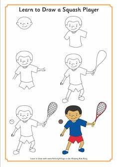 Learn to draw a squash player