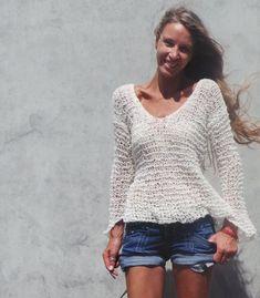 Mezcla de alpaca marfil suéter de las mujeres peso por ileaiye