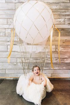 Adorable hot air balloon birthday photo prop