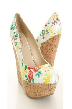 White Floral Print Patent Faux Leather Cork Platform Wedges