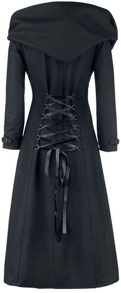 """Oryginalny płaszcz <strong>Gothicana by EMP - Cinderela</strong> <p>  Czarny, długi i piękny płaszcz """"Cinderella"""" od Gothicana by EMP to idealna rzecz, dla wszystkich nocnych stworzeń. Duży kaptur pozwoli ci ukryć się w mroku. Ale i tak będziesz świetnie wyglądać. <p> Detale: - duży kaptur - listwa z zatrzaskami"""