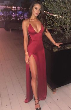 Burgundy Floor Length Cocktail Dress With Split CR 13321 Dresses Elegant, Pretty Prom Dresses, Straps Prom Dresses, Grad Dresses, Ball Dresses, Sexy Dresses, Cute Dresses, Beautiful Dresses, Mermaid Formal Dresses