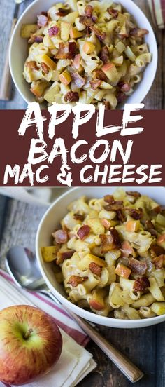 Sweet apples and savory cheddar give a fresh twist on a classic recipe in this Apple Bacon Mac and Cheese! Bacon Recipes, Pasta Recipes, Real Food Recipes, Cooking Recipes, Healthy Recipes, Apple Recipes Savory, Recipe Pasta, Cheesy Recipes, Fruit Recipes