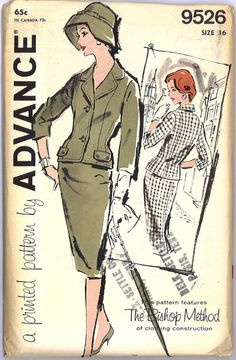 1960s Madmen Womens Suit Pattern UNCUT and Complete Bust 36 Advance 9526