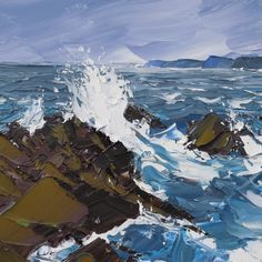(palette knife) Spring tide by Mattew Snowden ). Seascape Paintings, Landscape Paintings, Abstract Landscape, Abstract Art, Palette Knife Painting, Love Art, Canvas Art, Pictures, Ocean