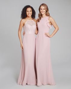 571477673ab2 Style 5861 Hayley Paige Occasions bridesmaids dress – Dusty Rose chiffon  A-line bridesmaids gown, Rose halter illusion lace bodice, natural waist.