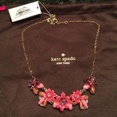 Kate spade necklace NWT Sweet enamel gold tone and rhinestone flower necklace. kate spade Jewelry Necklaces