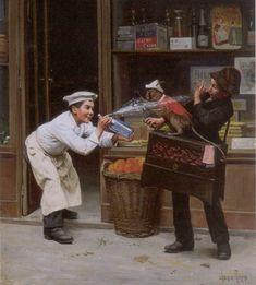 Paul Chocarne Moreau (1855-1931) ~ Charles teasing the Monkey