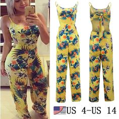 d0971ff17 Womens Clubwear Summer Floral Playsuit Bodycon Partysuit Romper Trousers US