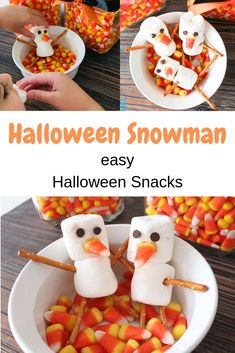 Learn how to make these easy Halloween Snowman snacks with marshmallows, candy corn, pretzels and chocolate chips. This is a great kid snack and fun recipe for any age. Halloween Activities For Kids, Halloween Food For Party, Halloween Desserts, Halloween Kids, Kid Activities, Holiday Snacks, Kid Snacks, Holidays With Kids, Kids Crafts